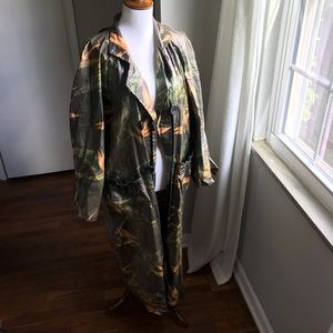 Vintage Paula Sweet Tropical Print Trench Coat